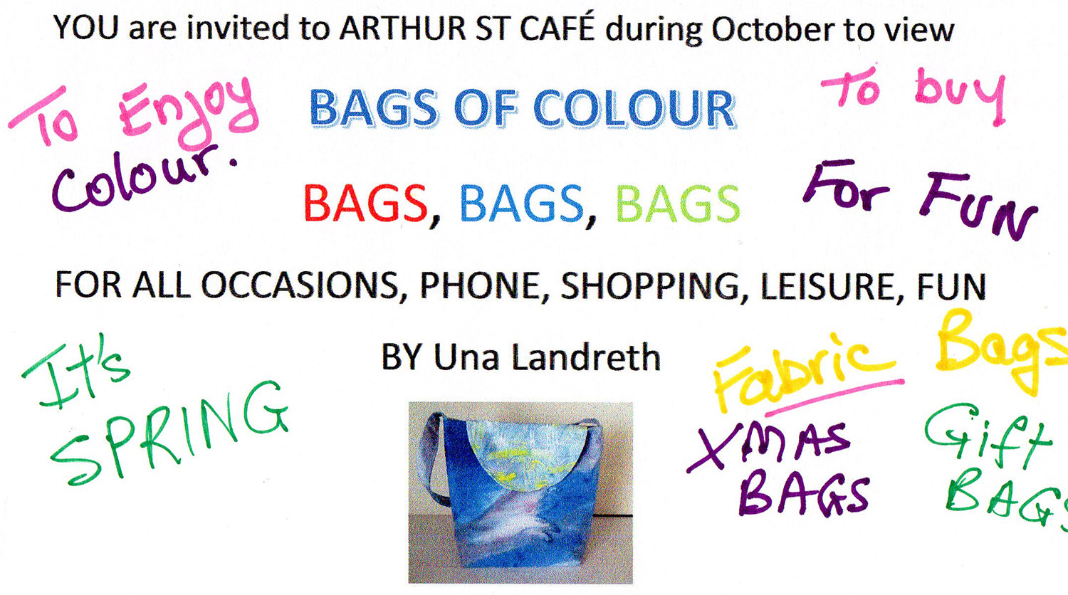 Bags of Colour by Una Landreth – October 2016